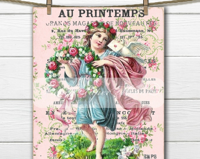 Vintage French Shabby Digital Romance, Victorian Child, Printable, French Pillow Transfer Graphic Download