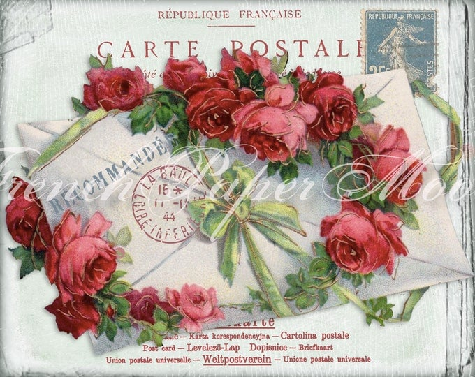 Gorgeous Digital French Shabby Chic Postcard, Roses, French Letter Collage, Pillow Image, Iron On Fabric