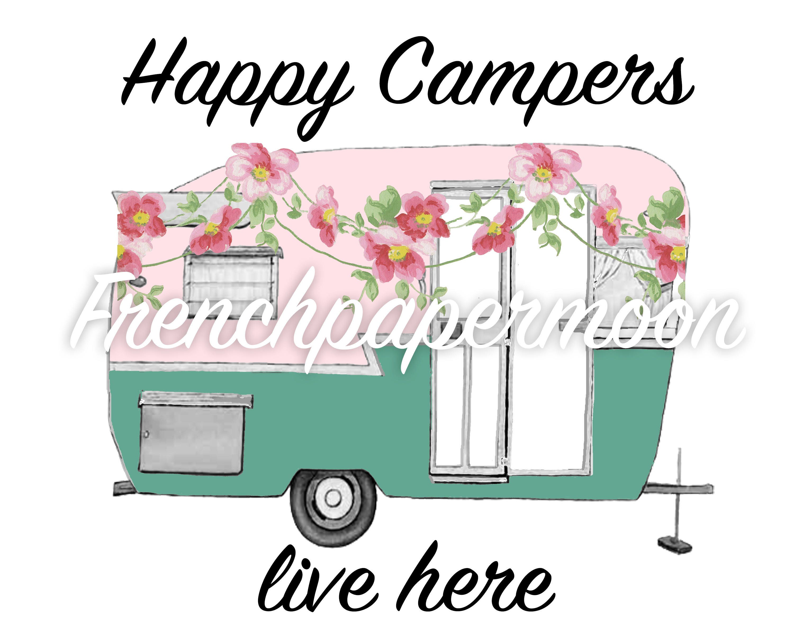 Vintage Camper Happy Floral Digital Pillow Transfer Graphic Iron On Fabric Retro RV