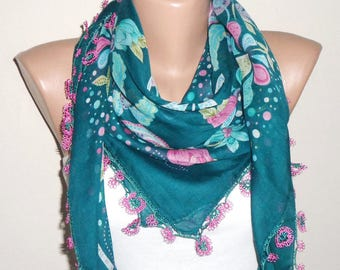 green scarf multicolor fashion accessories green yemeni scarf oya scarf shawls women scarf gift for her