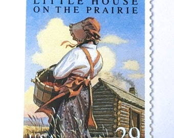 10 Little House on the Prairie Postage Stamps // Author Laura Ingalls Wilder Postage Stamps // 29 Cent Vintage Stamps for Mailing