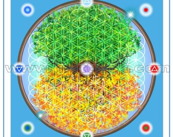 Tree of Life Crystal Healing Tool/Vinyl Mat - 1ft or 3ft Square