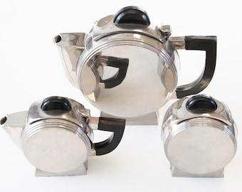 Modernist Circular Tea Set Art Deco Silver