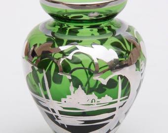 Sterling overlay Green Small Vase