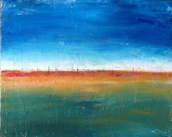 Original Modern Abstract Art Landscape Painting Fine Art Wall Decor 16x20