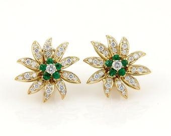 15525 - Queen 2.12ct Diamonds & Emerald Flower 18k Yellow Gold Earrings