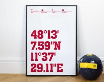 Bayern Munich Football Stadium Coordinates Posters