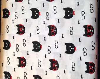 Black Cat Heads With Glasses On White Background,100% Cotton Fabric