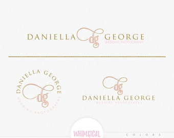 elegant initials logo- Feminine Watercolor Design Branding Package Inc. Photography - GOLD GLITTER initials letters script Watercolor Logo