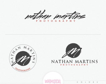 Artistic Brush Style Photographer Logo - male or female photography branding kit, artistic photography branding logo, brush style customized