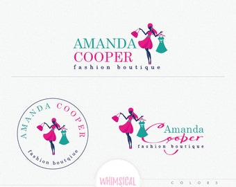 Fashion Stylish Woman Logo - Lady holding a dress and handbag - Fashion Boutique Logo