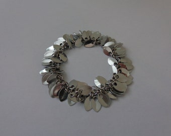 Silver Leaf Charm Bracelet, Silver Chain Charm Bracelet, Silver Charm Bracelet, Silver Aluminum Bracelet, Fringe Bracelet, Tribal Bracelet