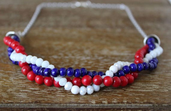 Fourth of July Necklace, Patriotic Jewelry, Independence Day Necklace, 4th of July Necklace, Red White and Blue, Fourth of July Jewelry