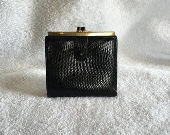 Vintage Gucci Lizard Wallet Black