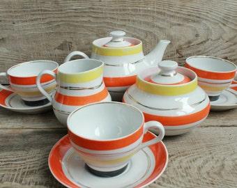 Rare vintage Tea Set / Old soviet Tea Set for 3 person / Factory soviet porcelain set / Teapot Teacup pattern / Kitchen decor / USSR
