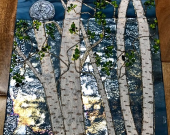 Birch Tree Glass Panel, Fused Glass Birch Panel, Blue Glass Birch Panel