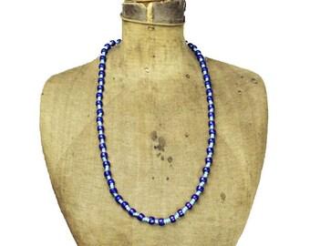 Vintage Blue Glass Bead Necklace, Blue Bead Necklac, Long Blue Necklace