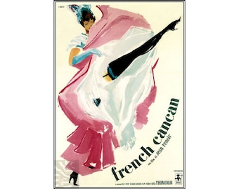 French Cancan 1955 Vintage Poster Print Theater Film Cabaret Advert Free US Post Low EU Post