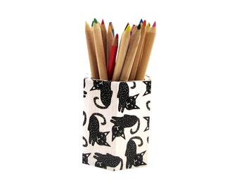 Cat  pencil holder , cats desk decoupage organizer , makeup organizer,   for cat lovers ,  black & white office decor , back to school gift