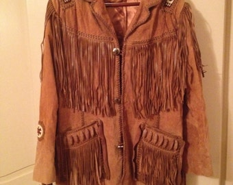 SCULLY Suede and Fringed Leather Jacket, Men's 44