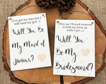 Will you be my bridesmaid Will you be my made of honour plaque gift keepsake