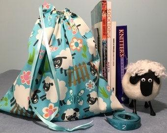 Sock Knitting Project Bag - Sheep Print
