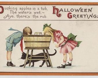 Halloween, Vintage Halloween post card, Stecher Litho Co., James E Pitts artist