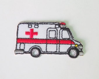 """Embroidered Small Ambulance Car Van Iron on Patch Badge (1"""" x 1 3/4"""")"""