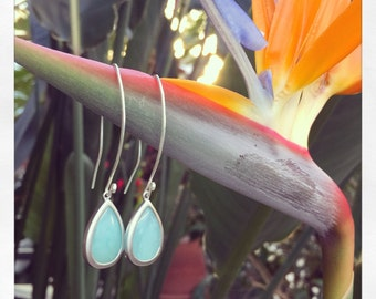 Aqua stone Earrings, Aqua Blue Chalcedony, , Gemstones Hawaii Jewelry, Beach Earrings Beach Jewelry
