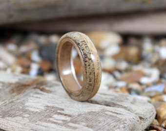 Deer Antler Ring with Oak & Walnut. Bent Wood Rings Handmade To Order In Any UK or US Size.  Antler ring, Wooden Rings.