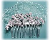 Starfish bridal hair comb,  rhinestone starfish hair comb, french netting, starfish and faux peals bridal comb.