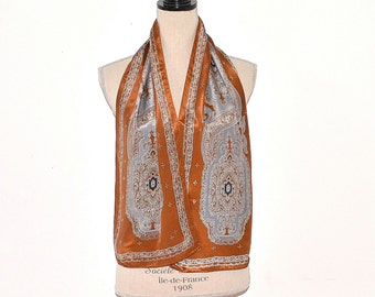 Vintage Opera Scarf - Paisley Silk Scarf - Traditional Formal Silk Scarf - Vintage Silk Scarf - Brown Silk Scarf