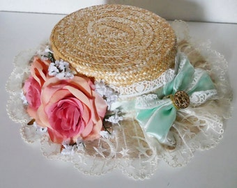 Lolita Canotier Floral Hat Green Pink Moon
