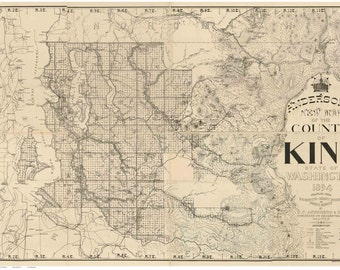 King County - Washington - 1894 Map Anderson's New Map  land owners names Old Map Reprint