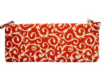 """Rust & Ivory Scroll Cushion with ties for Bench ~ Swing ~ Glider, Choose Size ~ 2"""" or 3"""" thick foam"""