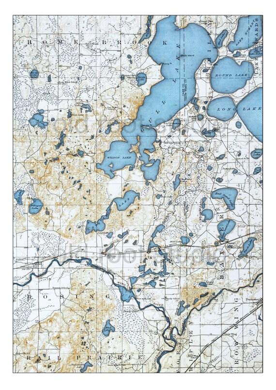 Hand Painted Map Of Gull Lake Minnesota Vintage Gull - Map of minnesota lakes