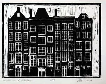 Houses in Amsterdam Original linocut print on english paper black oil ink original linocut art linocut painting amsterdam linocut engraving