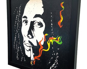 Bob Marley Smoking - Giclee  Canvas Wall Art - Framed