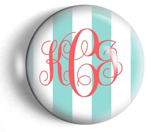 Custom paperweight Personalized monogram stripes paperweight large round desk accessory bridesmaid gift for teacher.