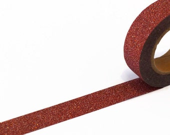 Red Glitter Tape - Sparkly Red & Silver Washi Tape