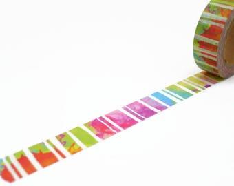 Rainbow Stripe Washi Tape - Colourful Tie Dye Masking Tape