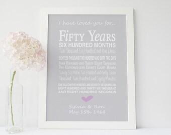 50th anniversary gift - personalised anniversary print - anniversary present - typographic 50th anniversary - golden anniversary gift