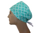 Surgical Scrub Cap Chemo Vet Nurse Dr Hat THE BASIC Unisex Larger Sz Introductory Pricing Blue Turquoise Quatrefoil White 2nd ships Free