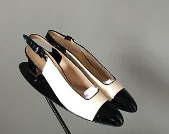Gorg Vtg 90s Salvatore Ferragamo Beige Leather Slingback Black Patent Leather Captoe Pump Shoe 9 AAA Narrow Mint Condition
