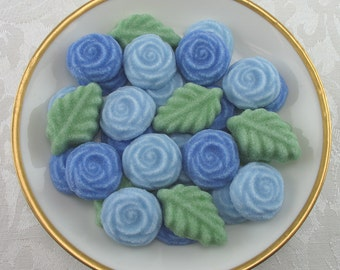 36 Blue Open Rose & Leaf shaped sugar cubes for tea party, shower, party favor, wedding sugar, bridal sugar, hostess gift