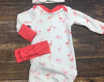 Girl Coming Home Outfit, Girl layette Gown in flamingo, top knot headband, bow turban