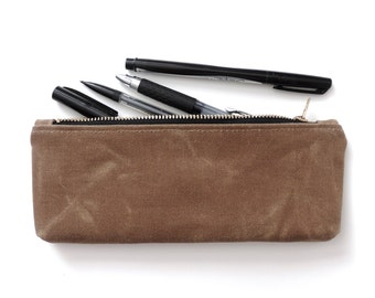 Waxed Canvas Pencil Case Zipper Pencil Pouch Tan