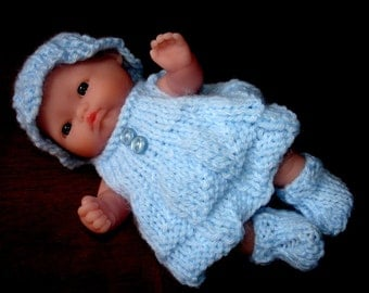 "Lots To Love, Berenguer, Miniature Tiny Doll - Too Cute For Words Baby - 5"" Tall -Blue Hand Knit Dress"