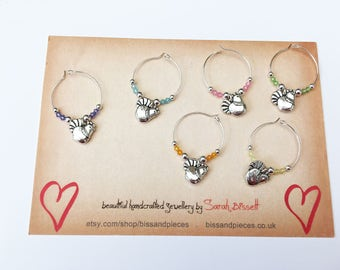 Cute chicken / hen wine charms. Uk dining accessory.