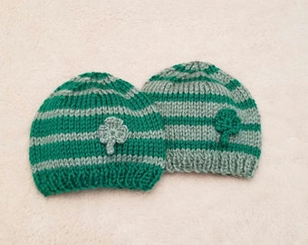 Shamrock Twin Hat Set • St Patrick's Day Twin Set • St Patrick's Baby Hat St Patrick's Day Newborn Photo Prop • St Patrick's Day Baby Hat